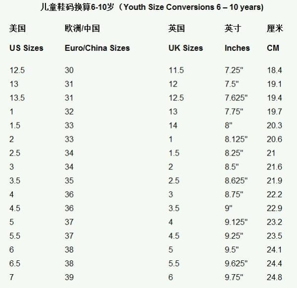 海淘儿童鞋类(6-10岁)尺码表