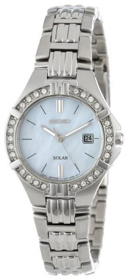 SEIKO SUT087 精工 珍珠贝母镶钻水晶太阳能女表